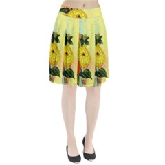 Background Flowers Yellow Bright Pleated Skirt