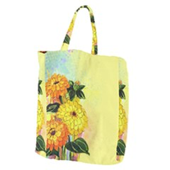Background Flowers Yellow Bright Giant Grocery Zipper Tote