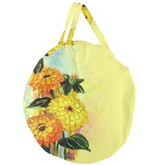 Background Flowers Yellow Bright Giant Round Zipper Tote