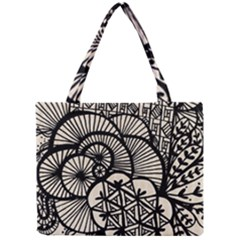 Background Abstract Beige Black Mini Tote Bag