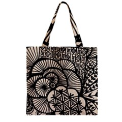 Background Abstract Beige Black Zipper Grocery Tote Bag