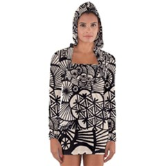 Background Abstract Beige Black Long Sleeve Hooded T Shirt