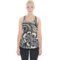 Background Abstract Beige Black Piece Up Tank Top by Nexatart