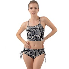 Background Abstract Beige Black Mini Tank Bikini Set by Nexatart