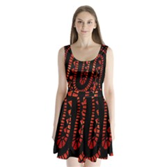Background Abstract Red Black Split Back Mini Dress