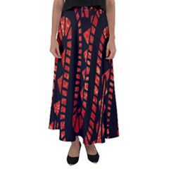 Background Abstract Red Black Flared Maxi Skirt