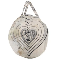 Heart Drawing Angel Vintage Giant Round Zipper Tote