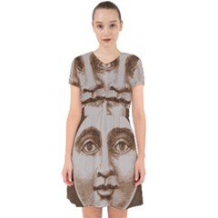 Moon Face Vintage Design Sepia Adorable In Chiffon Dress