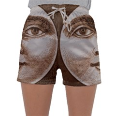 Moon Face Vintage Design Sepia Sleepwear Shorts