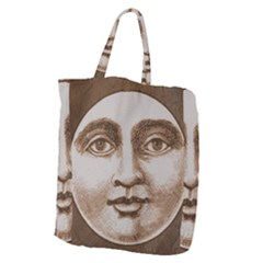 Moon Face Vintage Design Sepia Giant Grocery Zipper Tote