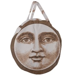 Moon Face Vintage Design Sepia Giant Round Zipper Tote