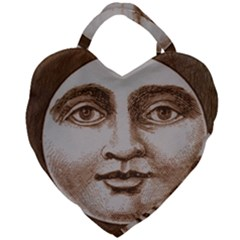 Moon Face Vintage Design Sepia Giant Heart Shaped Tote
