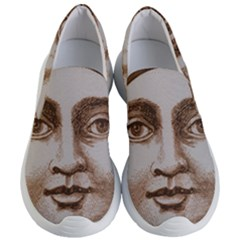 Moon Face Vintage Design Sepia Women s Lightweight Slip Ons
