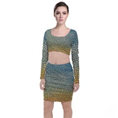 Background Cubism Mosaic Vintage Long Sleeve Crop Top & Bodycon Skirt Set