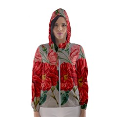 Flower Floral Background Red Rose Hooded Wind Breaker (women)