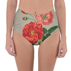 Flower Floral Background Red Rose Reversible High Waist Bikini Bottoms