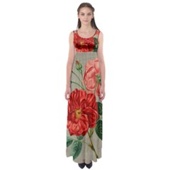 Flower Floral Background Red Rose Empire Waist Maxi Dress