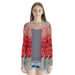Flower Floral Background Red Rose Drape Collar Cardigan