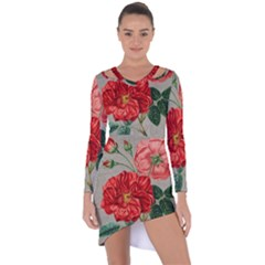 Flower Floral Background Red Rose Asymmetric Cut Out Shift Dress