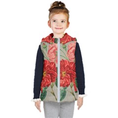 Flower Floral Background Red Rose Kid s Puffer Vest
