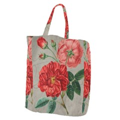 Flower Floral Background Red Rose Giant Grocery Zipper Tote
