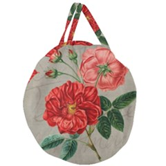 Flower Floral Background Red Rose Giant Round Zipper Tote