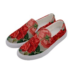 Flower Floral Background Red Rose Women s Canvas Slip Ons by Nexatart