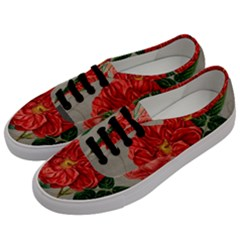 Flower Floral Background Red Rose Men s Classic Low Top Sneakers by Nexatart