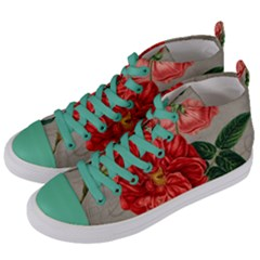 Flower Floral Background Red Rose Women s Mid Top Canvas Sneakers by Nexatart