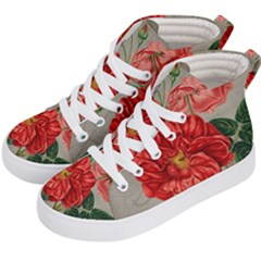 Flower Floral Background Red Rose Kid s Hi Top Skate Sneakers by Nexatart