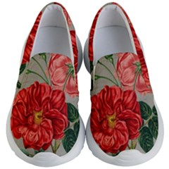 Flower Floral Background Red Rose Kid s Lightweight Slip Ons by Nexatart