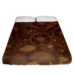 Background Steampunk Gears Grunge Fitted Sheet (queen Size) by Nexatart