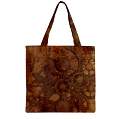 Background Steampunk Gears Grunge Zipper Grocery Tote Bag