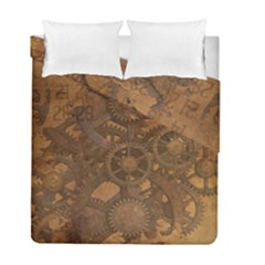 Background Steampunk Gears Grunge Duvet Cover Double Side (full/ Double Size)