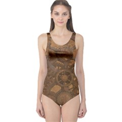 Background Steampunk Gears Grunge One Piece Swimsuit by Nexatart
