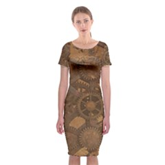 Background Steampunk Gears Grunge Classic Short Sleeve Midi Dress
