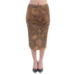 Background Steampunk Gears Grunge Midi Pencil Skirt