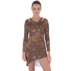 Background Steampunk Gears Grunge Asymmetric Cut Out Shift Dress
