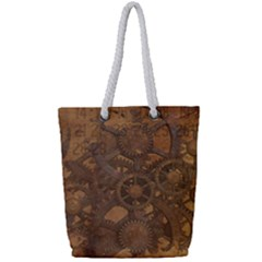 Background Steampunk Gears Grunge Full Print Rope Handle Tote (small) by Nexatart