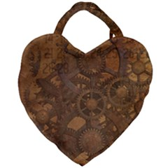 Background Steampunk Gears Grunge Giant Heart Shaped Tote