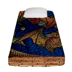 Bats Cubism Mosaic Vintage Fitted Sheet (single Size)