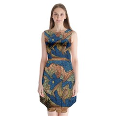 Bats Cubism Mosaic Vintage Sleeveless Chiffon Dress