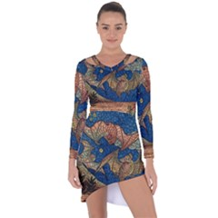 Bats Cubism Mosaic Vintage Asymmetric Cut Out Shift Dress