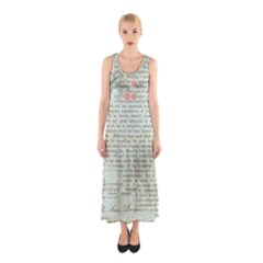 Vintage Floral Background Paper Sleeveless Maxi Dress