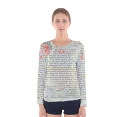 Vintage Floral Background Paper Women s Long Sleeve Tee