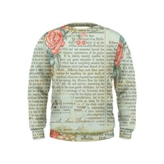 Vintage Floral Background Paper Kids  Sweatshirt