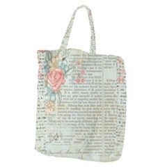 Vintage Floral Background Paper Giant Grocery Zipper Tote
