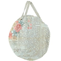 Vintage Floral Background Paper Giant Round Zipper Tote