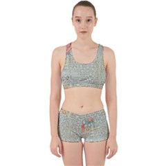 Vintage Floral Background Paper Work It Out Sports Bra Set by Nexatart