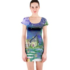 Background Fairy Tale Watercolor Short Sleeve Bodycon Dress